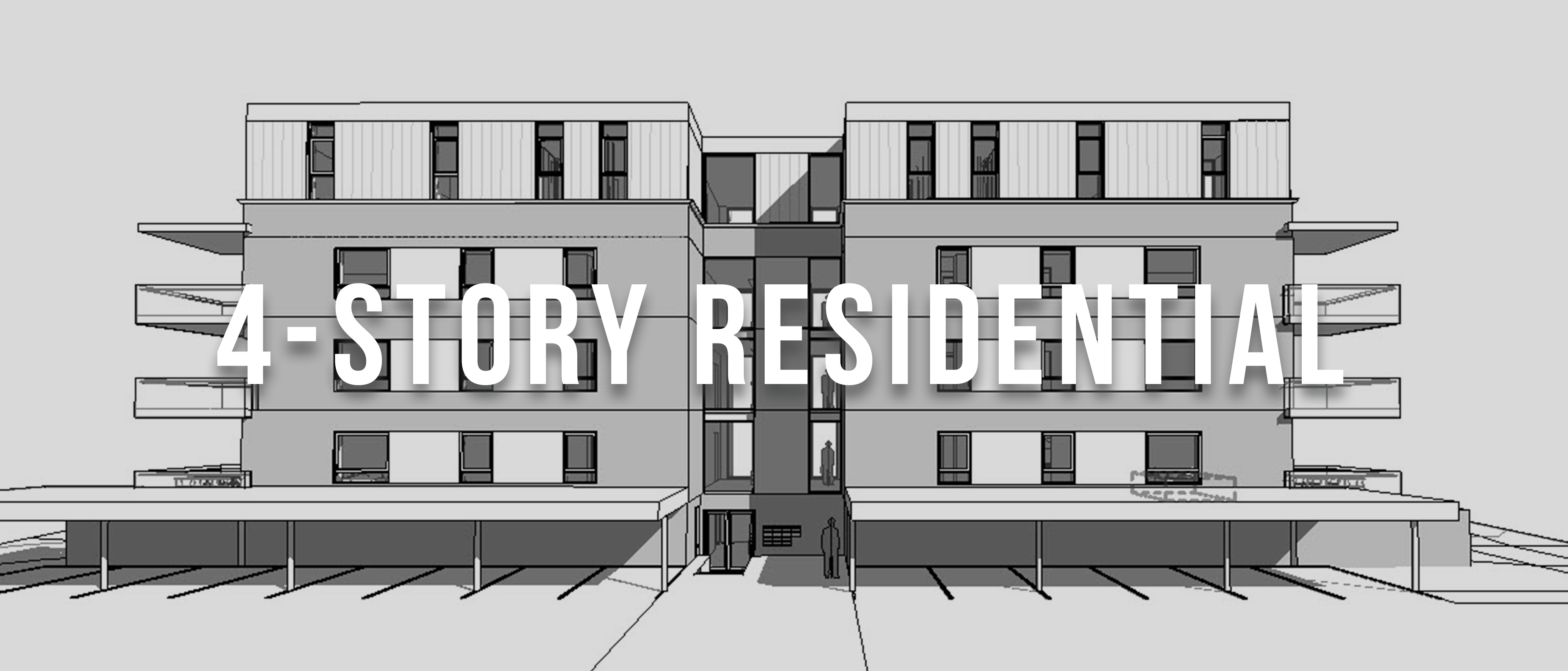 Multy-storey residential. Architectural drawings demo-package